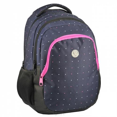 91d5d03025e13 Plecak szkolny, młodzieżowy Paso - fioletowy, w kropki